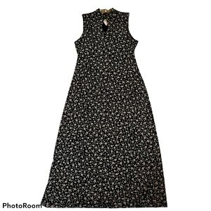 Vintage daisy print sleeveless maxi dress size 14